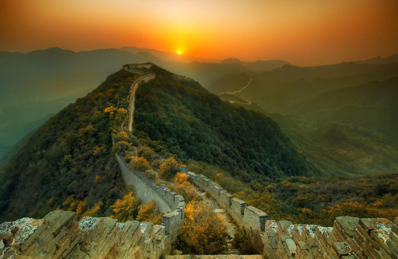 Great wall at sundown